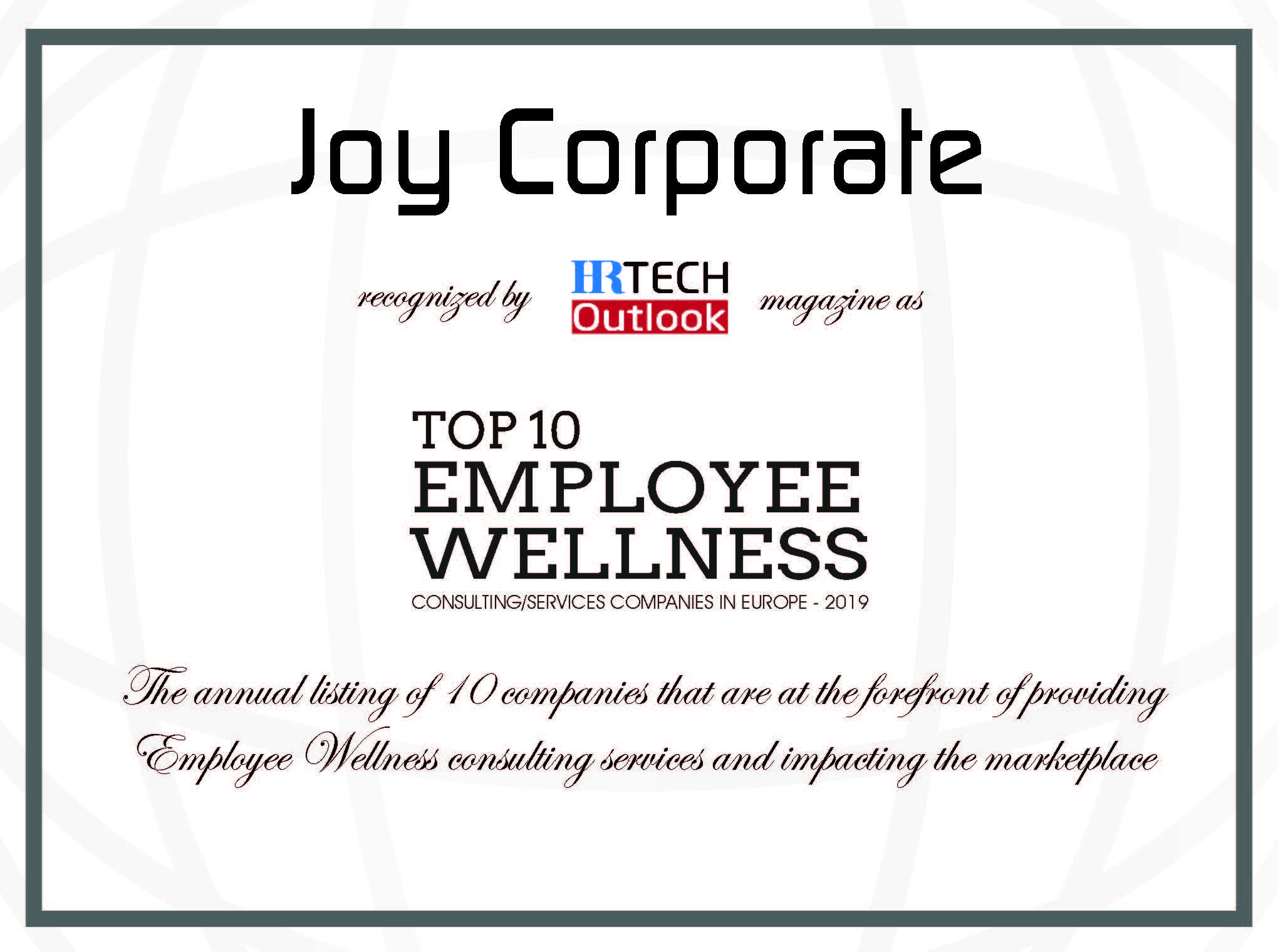 Joy Corporate recognized as TOP 10 Employee Wellness Consulting/Services Companies in Europe!